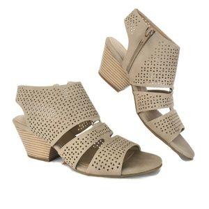 Ankle Womens Heels 9.5 Mushroom Tan Zip Open Toe